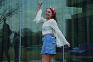 Bell Sleeves and Denim Skirt